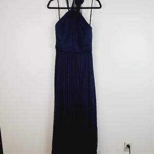 Amsale Navy Halter Long Bridesmaid Chiffon Dress